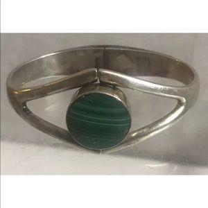 Artisan modern 950 sterling onyx cuff bracelet